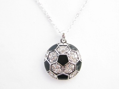 Soccer ball black enamel clear crystal silver chain necklace crystal soccer mozeypictures Image collections