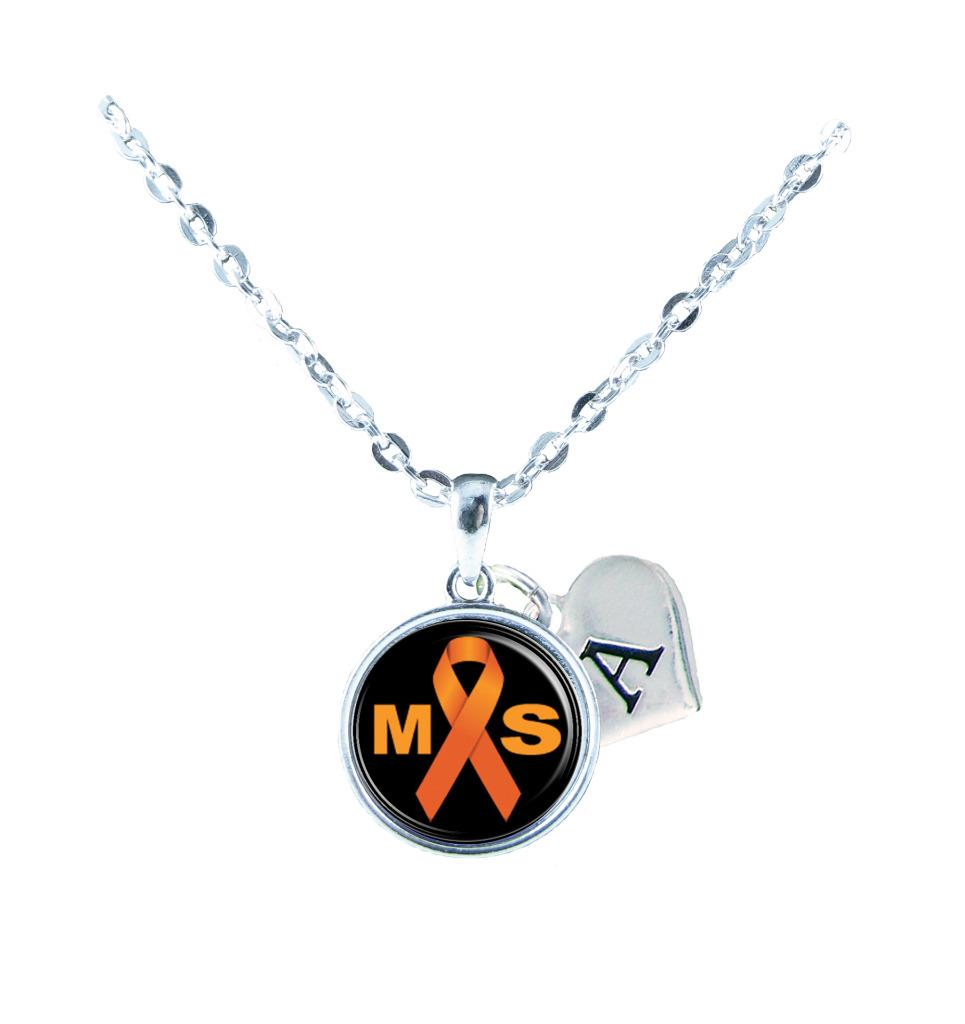 Custom Multiple Sclerosis Awareness Ribbon Silver Necklace