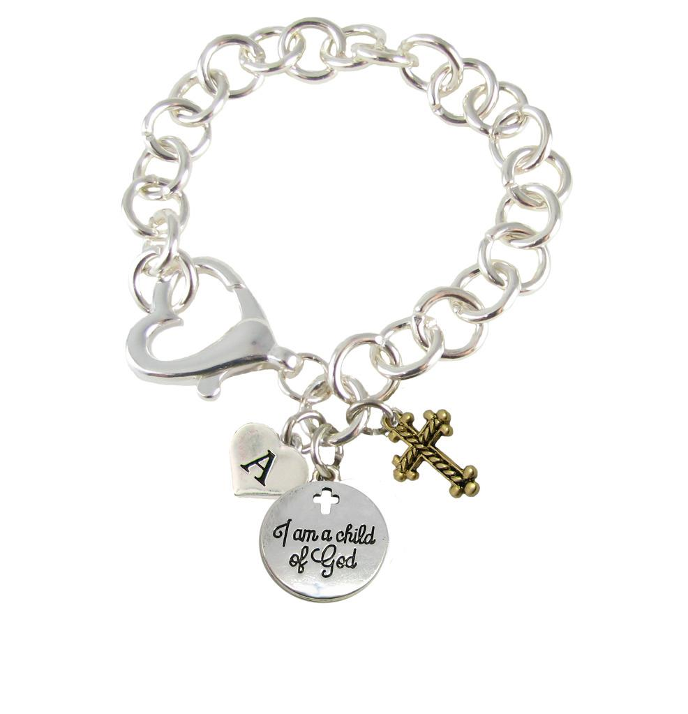 Initial Charms For Bracelets: Custom I Am A Child Of God Initial Charms Silver Lobster