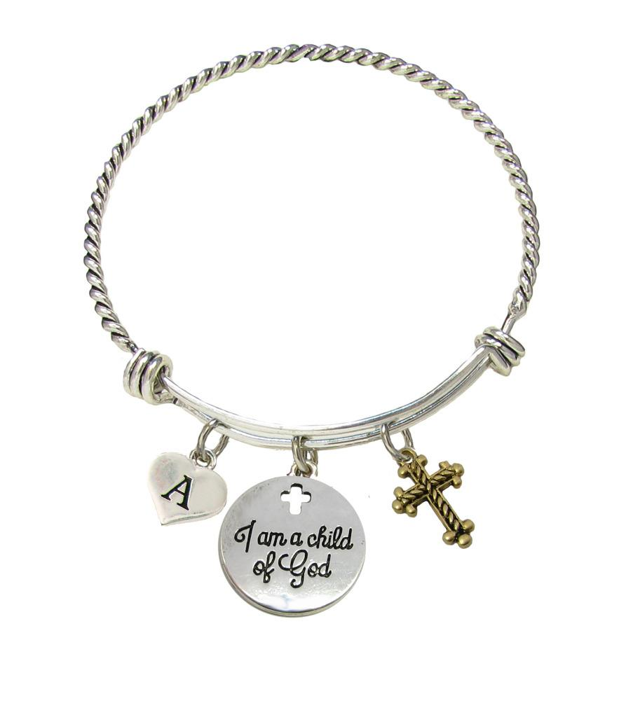Initial Charms For Bracelets: Custom I Am A Child Of God Initial Charms Silver Wire Cuff