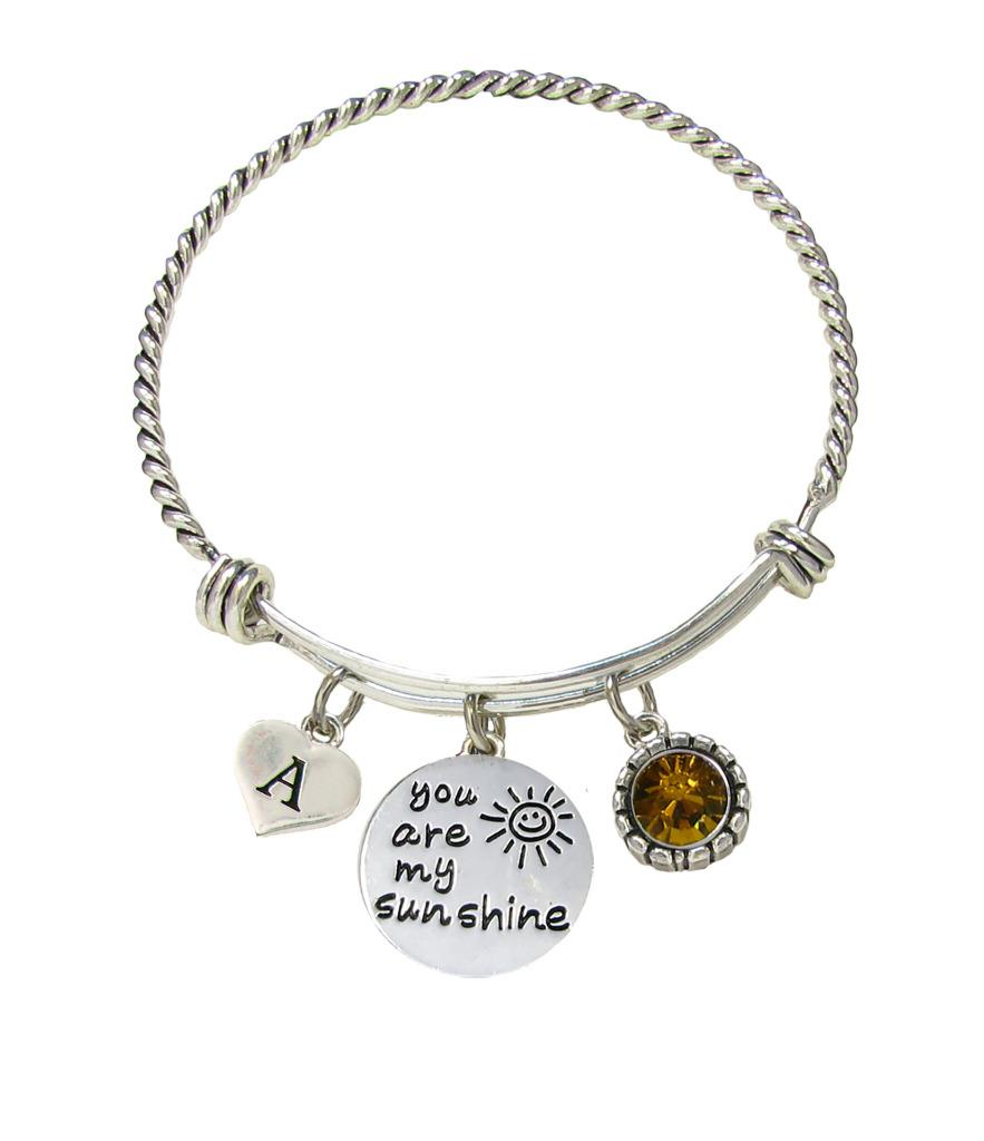 Initial Charms For Bracelets: Custom You Are My Sunshine Initial Charms Silver Wire Cuff