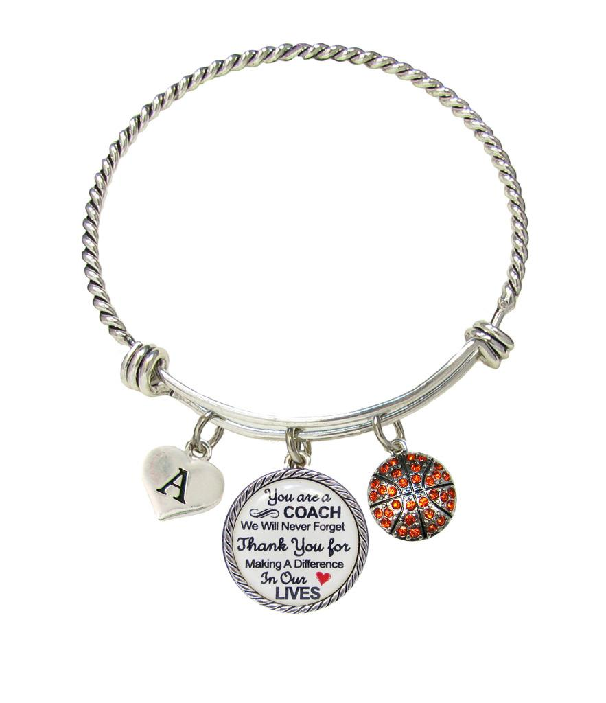 Basketball Charm Bracelet: Custom Basketball Coach Thank You Gift Wire Bracelet