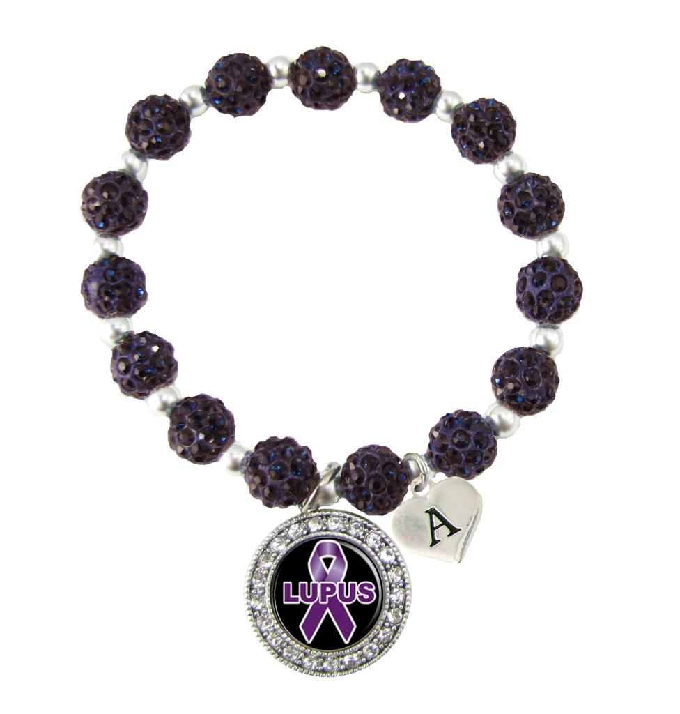 Initial Charms For Bracelets: Custom Lupus Awareness Purple Bling Bracelet Jewelry