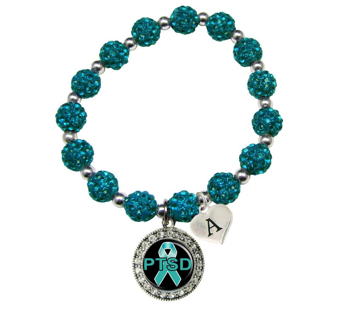Initial Charms For Bracelets: Custom PTSD Awareness Teal Bling Bracelet Jewelry Choose
