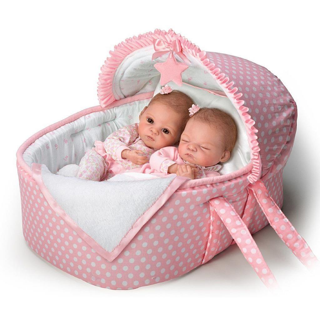 Ashton Drake Lullaby Twins With Bassinet By Waltraud Hanl