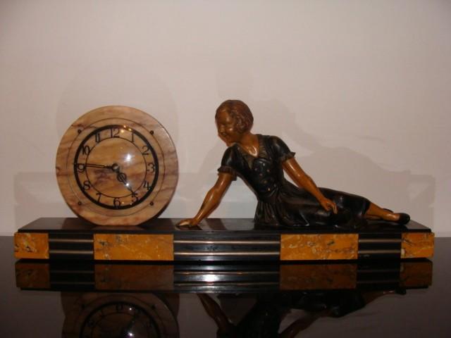 elegante art deco uhr marmor figur um 1920 ebay. Black Bedroom Furniture Sets. Home Design Ideas