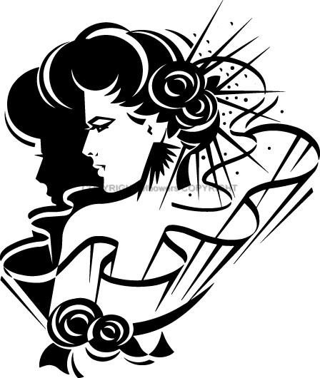 Vinyl Wall Art Lady With Flowers Art Deco Silhouette