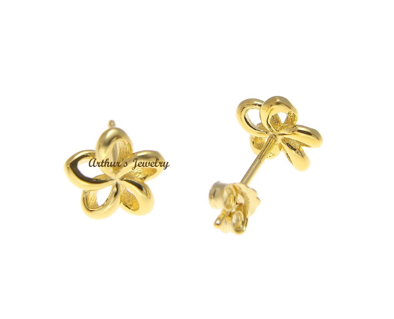 Yellow gold plated silver 925 hawaiian open plumeria flower earrings yellow gold plated silver 925 hawaiian open plumeria izmirmasajfo