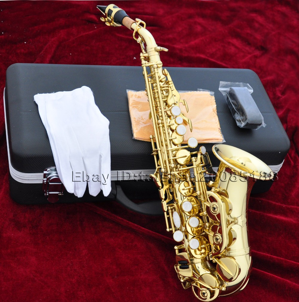 top gold lacquer curved soprano bb saxophone sax high f with case ebay. Black Bedroom Furniture Sets. Home Design Ideas