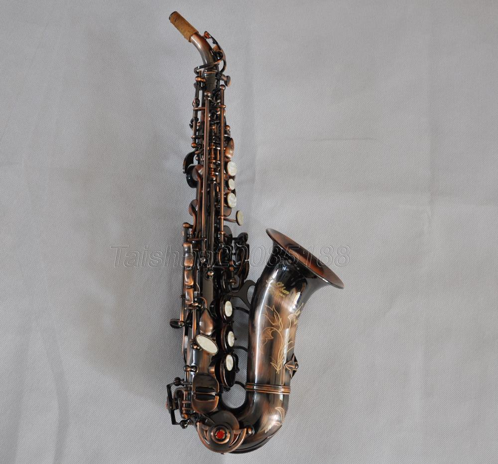 professional taishan red antique soprano bb curved sax saxophone with case ebay. Black Bedroom Furniture Sets. Home Design Ideas