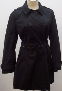 KENNETH COLE REACTION BLACK TRENCH COAT SIZE MEDIUM