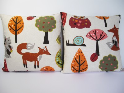 Woodland animals vintage retro fox owl bird kids childrens for Animal print fabric for kids