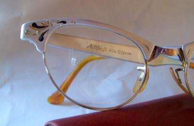 bd0409a9816 Vtg 1950s Cat Eye Glasses Frame Art Craft Aluminum Rhinestone 1 10 ...