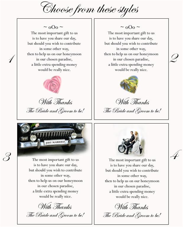 Wedding Gift Poems For Money For Honeymoon: 50 Poem Cards Cash Or Honeymoon Money As Wedding Gift