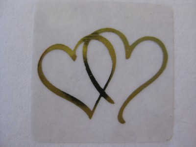 100 Gold Twin Heart Wedding Invitation Seals Stickers Ebay