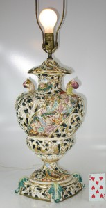 Taube Italy Capodimonte Large Lamp Hand Painted Porcelain Cherub Ebay