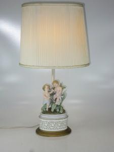 Antique Porsalin Cherub Or Child Figural Lamp Boy With