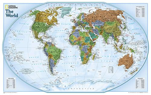 70x49 World Wall Map Poster Executive Earth Tones National