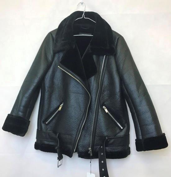 6c64362b6b1 ZARA BLACK AVIATOR FAUX Leather SHEARLING FUR COLLAR BIKER JACKET ...