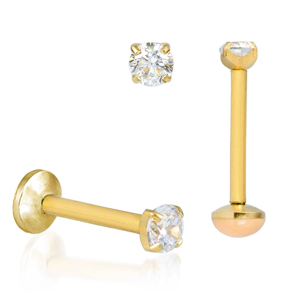 Monroe Labret Black Gold Silver Clear CZ Lip Body Jewelry ...