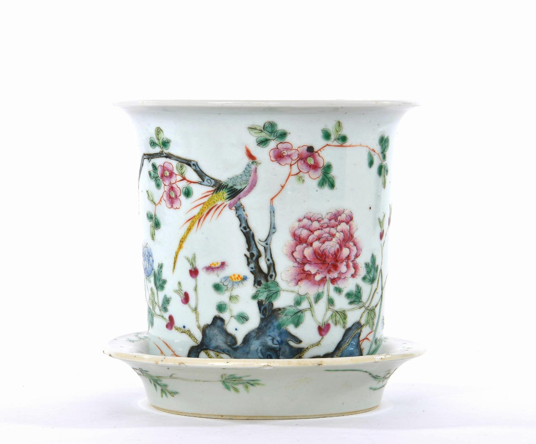 Early 20c chinese famille rose porcelain planter for Jardinier 78