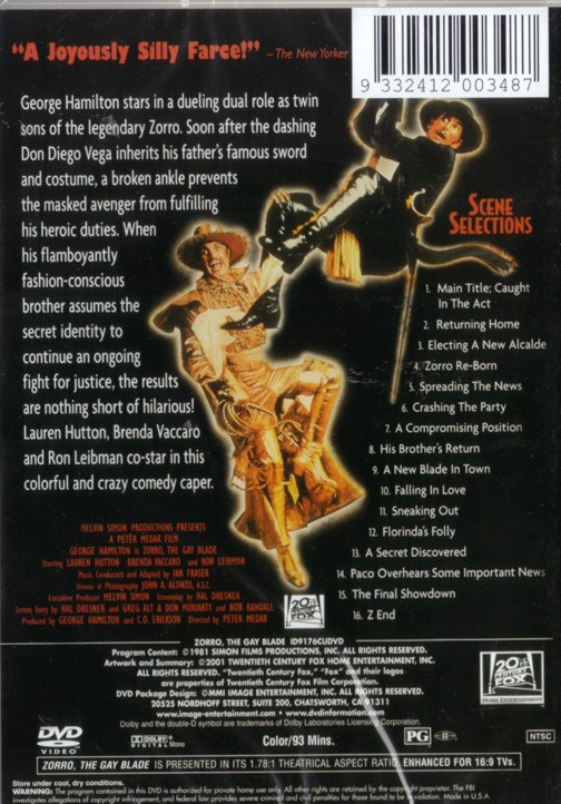Zorro The Gay Blade Dvd 88