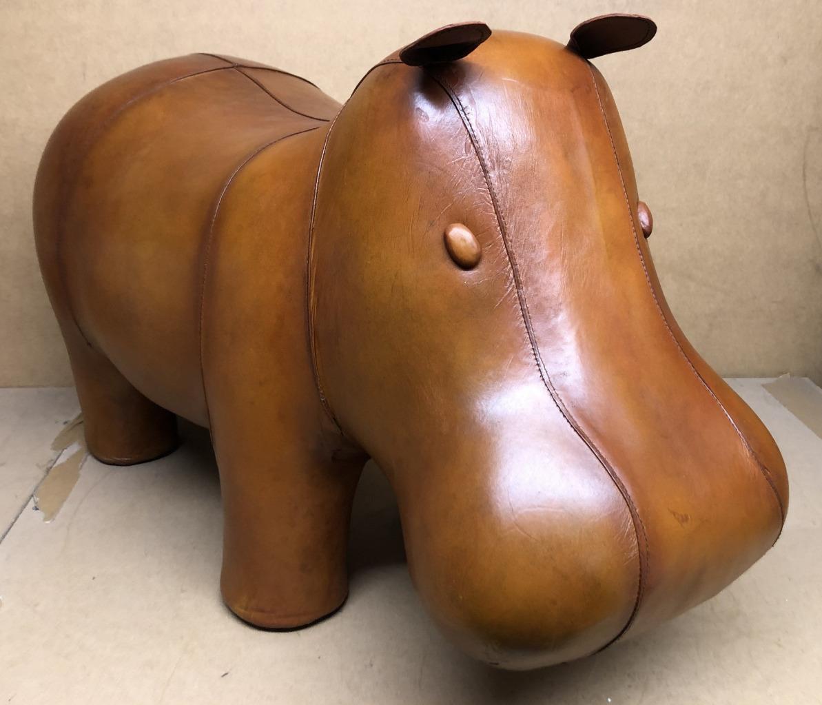 Large Handmade Genuine Leather Hippo Footstool / Stool - 70cm x 44cm 5