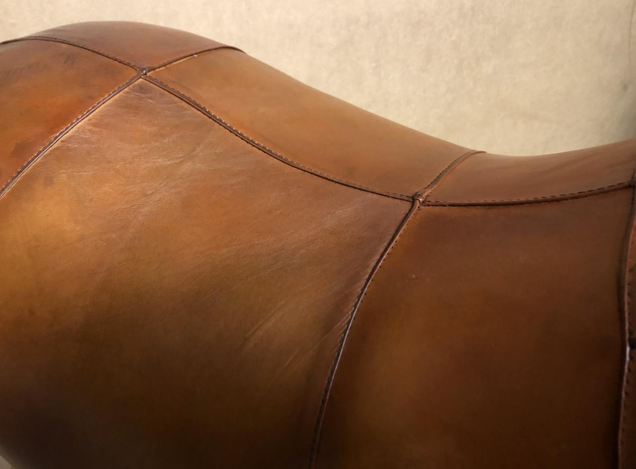 Large Handmade Genuine Leather Hippo Footstool / Stool - 70cm x 44cm 6
