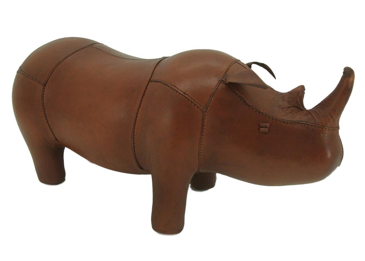 Hecho-a-Mano-Cuero-Genuino-Rhino-Taburete-Reposapies-28cm-X-56cm