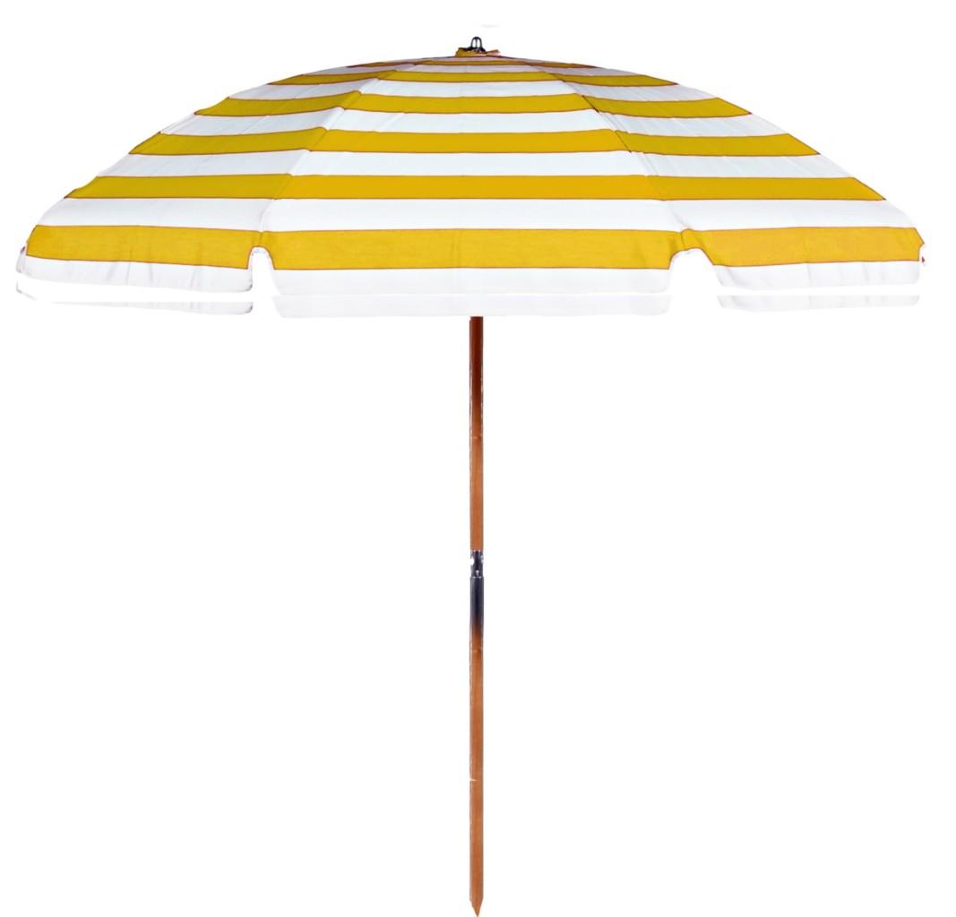Beach Umbrella: 7.5 Beach Umbrella SUNBRELLA Yellow & White Stripe