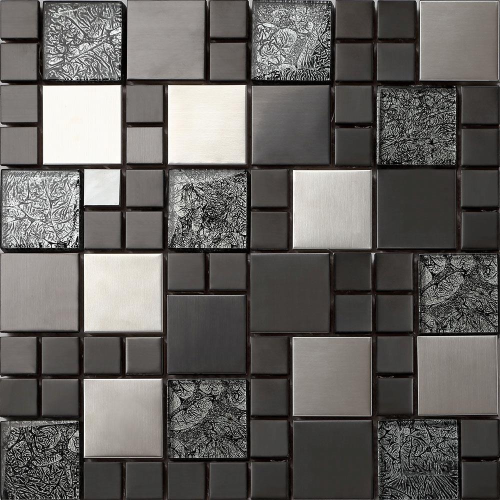 Metalic Random Mix Brushed Steel Black Hong Kong Glass