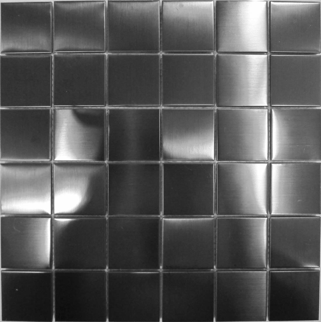 stainless steel mosaic wall tiles black metallic brushed 20647
