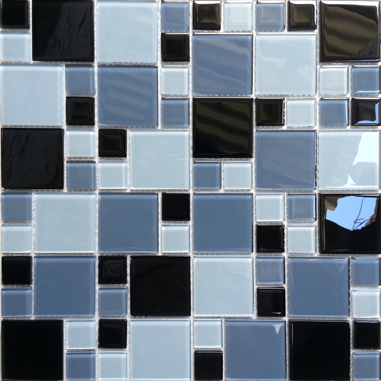 Random Kitchen Tile Patterns: Black Grey White Glass Mosaic Wall Tiles Random Mix For Bathroom Kitchen 012 7081431605029