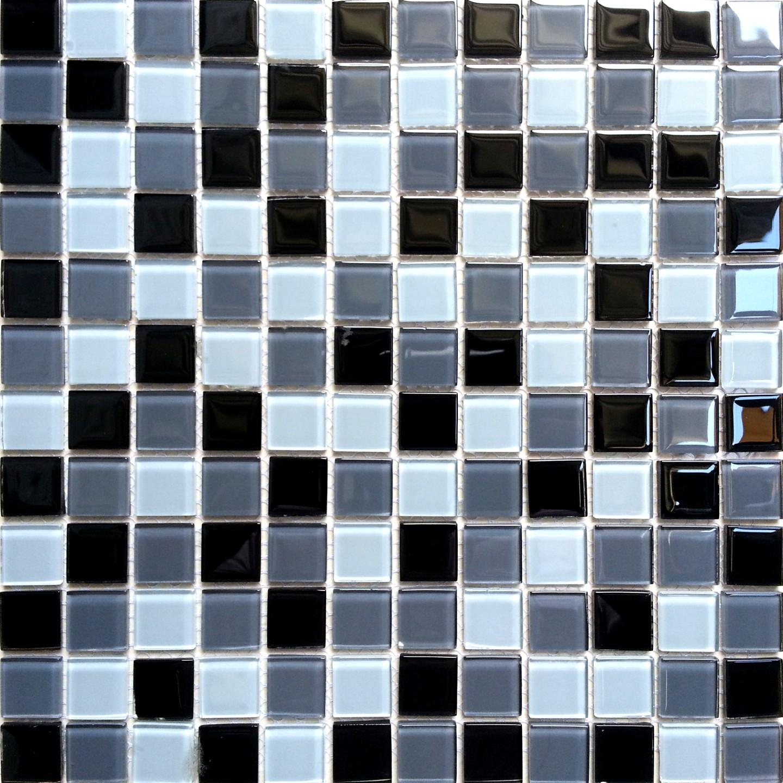 Mosaic Wall Tiles Black Grey White Gl Diy Project Bathroom Shower