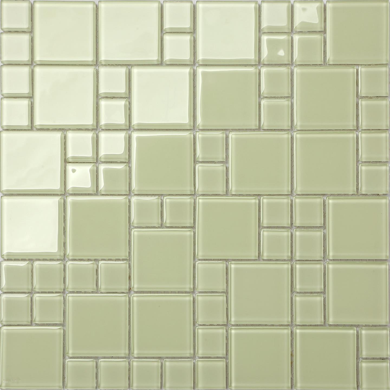 Green Glass Tile Bathroom: Light Green Glass Modular Mix Walls Bathroom Shower Mosaic