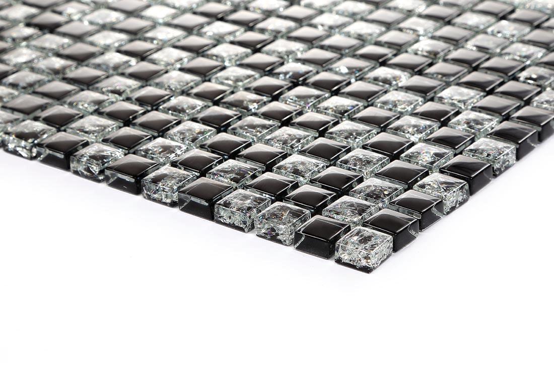 Kauf-Online - Super elegant Schwarz solide gebrochen klar Glas Mosaik Fliesen