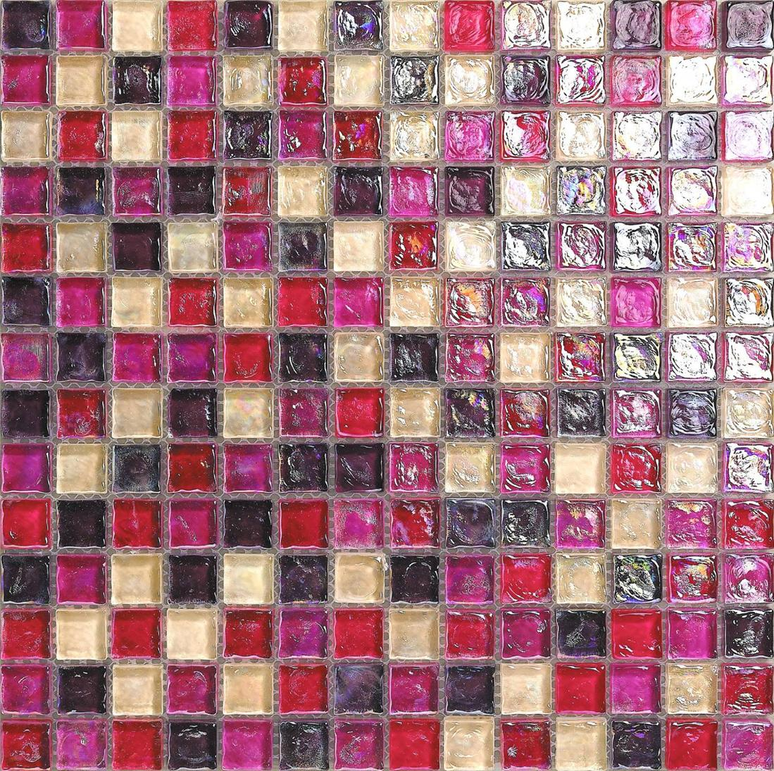Hammered Pearl Pink Red Glass Mosaic Wall Tiles Bathroom