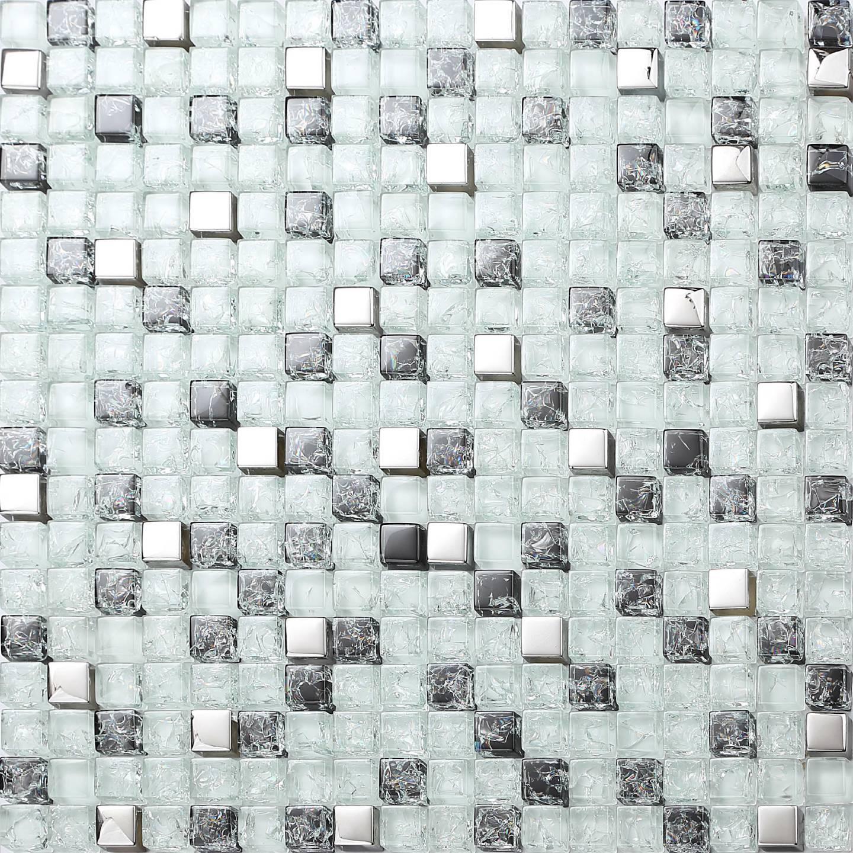 gebrochenes crackled glas mosaik fliesen matte schwarz rot pink lila wei silber ebay. Black Bedroom Furniture Sets. Home Design Ideas
