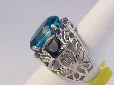 Capri Blue Quartz Sterling Silver Ring TGW 3.25 cts.
