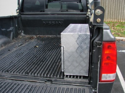 ALUMINUM TRUCK PICKUP TRAILER RV TOOL BOX PORK CHOP WHEEL WELL STORAGE