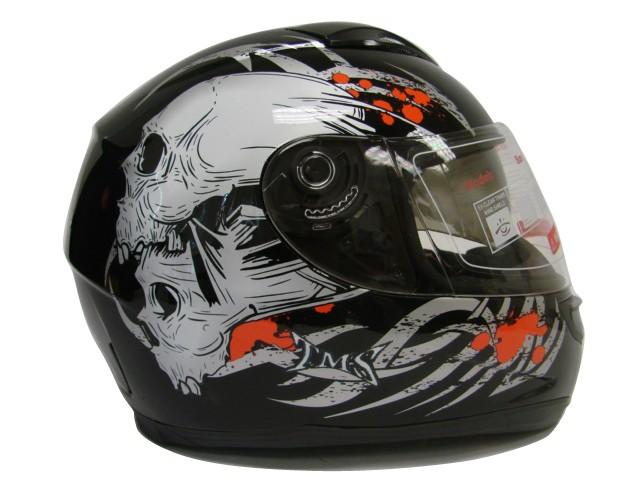 331558f0 DUAL VISOR FULL FACE MOTORCYCLE HELMET BLACK SKULL ~L on PopScreen
