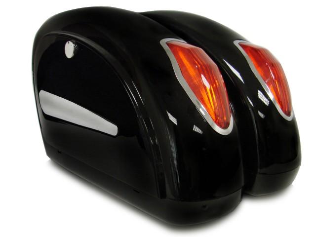 Black Motorcycle Touring Cruiser Hard Saddlebags Trunk