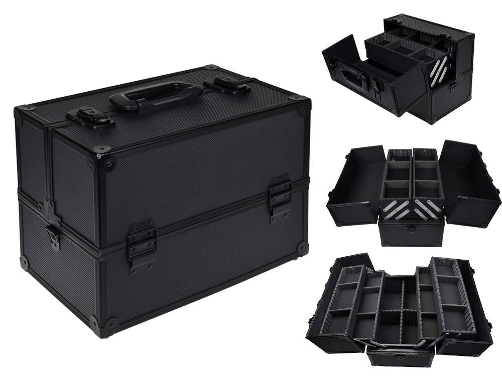 pro 14 makeup aluminum storage case organizer box. Black Bedroom Furniture Sets. Home Design Ideas