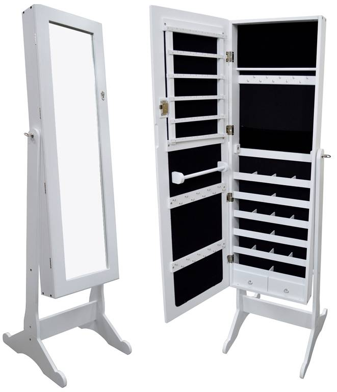 White Wood Glass Mirrored Jewelry Armoire Cabinet Stand