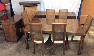 Henredon Dining Room Set W 6 Cane Back Chairs 2 Buffet Servers Leafs Pads