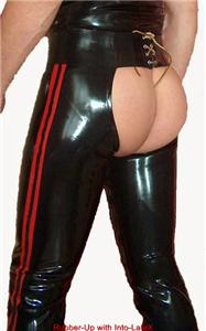 Rubber Chaps 0.6mm Tailored Fit leg zips 28-42 Hips Choice of 6 Stripe colors