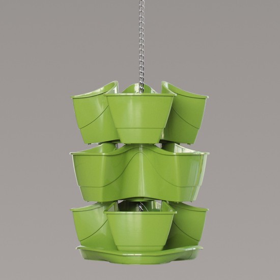 Green Hanging 3 X 3 Pot Stackable Strawberry Flower Herb