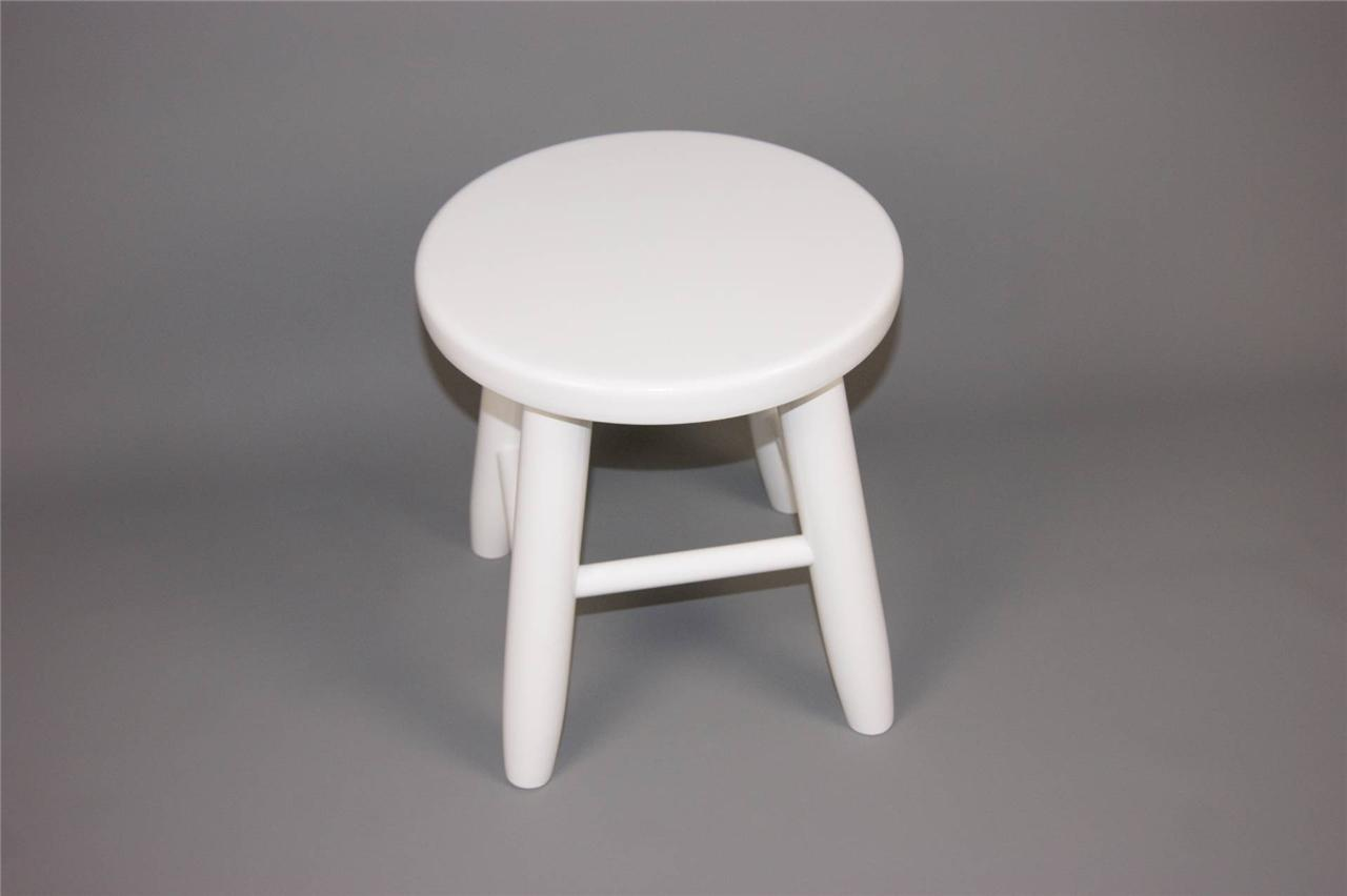 Kbi Small Laquered White Wooden Stool Chair Bar Kitchen