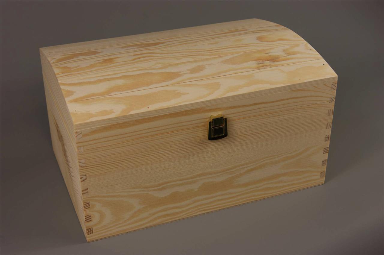 X LARGE TREASURE CHEST PLAIN WOODEN BOX DECOUPAGE CRAFT | eBay
