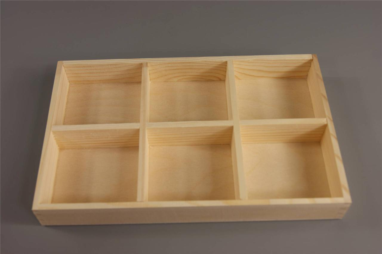 New Plain Wood Wooden Tray 6 Compartments Decoupage